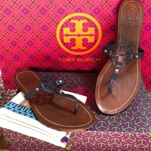 Tory Burch Navy Leather Mini Miller Sandals sz9